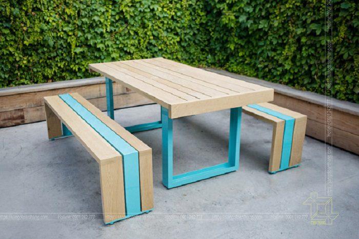 Bộ bàn ghế gỗ nhựa ngoài trời mẫu 06