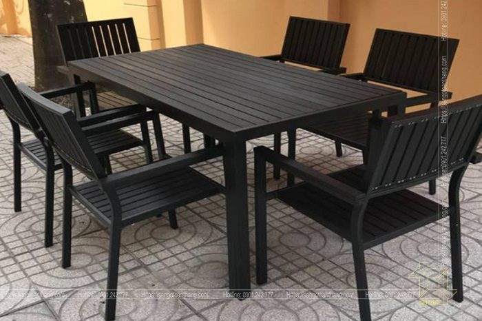 Bộ bàn ghế gỗ nhựa ngoài trời mẫu 04
