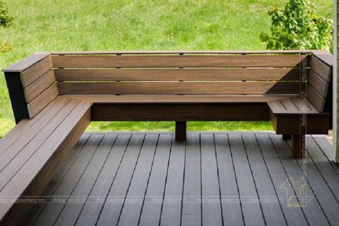 Bộ bàn ghế gỗ nhựa ngoài trời mẫu 05