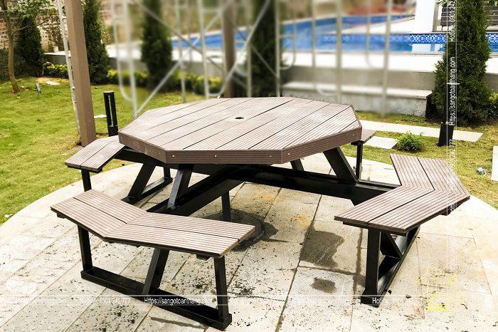Bộ bàn ghế gỗ nhựa ngoài trời mẫu 12