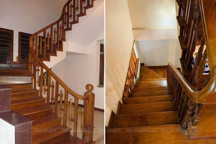 Hoàn thiện cầu thang gỗ Lim Nam Phi và chuẩn bị bàn giao cho chủ nhà