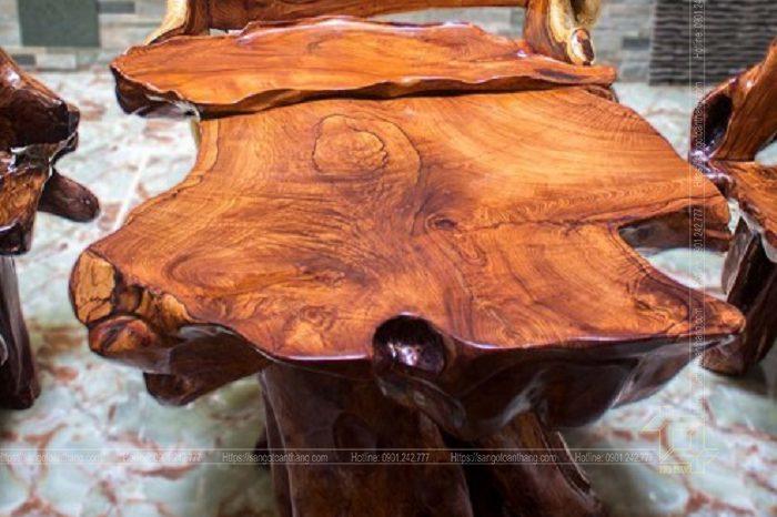 Bàn trà gỗ Giáng Hương nguyên khối