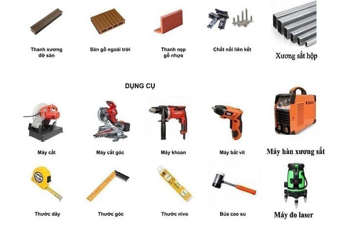 Dụng cụ cần thiết để thi công sàn nhựa giả gỗ ngoài trời