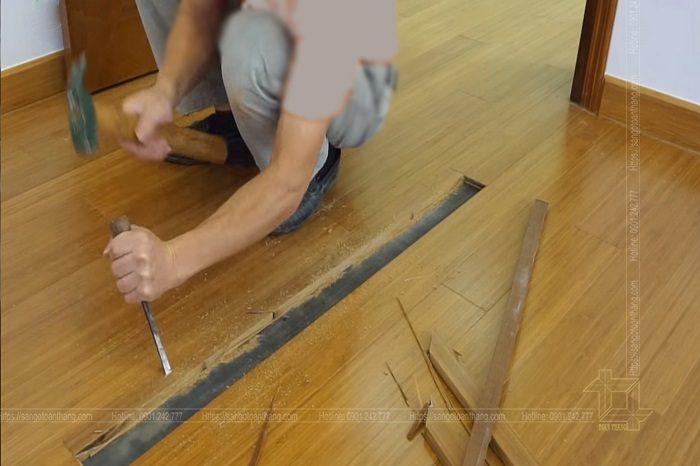Đục sàn là phương án cuối cùng và khá mất công trong việc sửa sàn gỗ